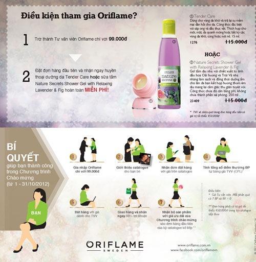 Oriflame 10-2012: Điều kiện gia nhập Oriflame rất đơn giản và chi phí rất nhỏ